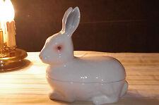 rare vintage original 50's french majolica white rabbit Caugant foie gras