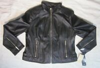 MICHAEL Michael Kors Leather Zip Front Moto Jacket - Black - NEW $450 Women's LG