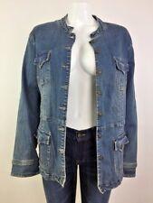 Live a Little Women Jacket Jean Denim Stretch Long Sleeve Mock Neck Blue Plus 3X