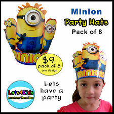 DESPICABLE ME MINION FANCY PARTY HATS - PARTY SUPPLIES - PACK OF 8