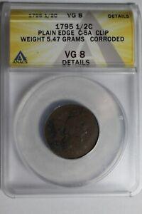 1795 US Half Cent Plain Edge C-5A Clip VG8 Details Anacs