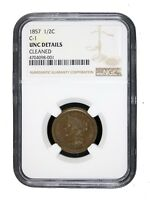 1857 1/2C Half Cent Braided Hair C-1 NGC UNC BU MS Certified Uncirculated 8001