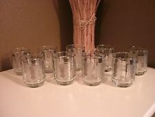 Vintage Silver Frost Juice Glasses~Frosted Panel~Snowman Design~Set of 9