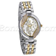 Women Luxury Charm Manmade Shell Rhinestone Floral Dial Quartz Dress Wrist Watch