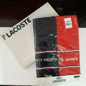 Set Of 2 Authentic Lacoste 100% Cotton Bath Beach Towel Blue & Red In Box 15x48""