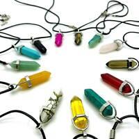 Pendant Reiki CORD Necklace Natural Quartz Chakra Crystal Healing Gemstone