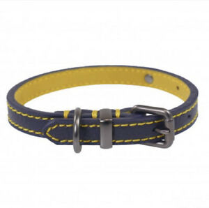 Joules For Dapper Dogs Navy Leather Dog Collar - Medium