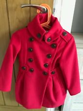 NEXT Girls 3-4 years Red Military Buttoned Coat 104cm Great Condition