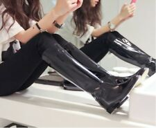Fashion Womens Shiny patent leather Knee High Riding Boots Black Flats Casual