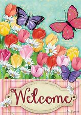 "Welcome Butterflies Tulips Daisies Flowers Summer Yard Garden Flag 12.5"" X 18"""