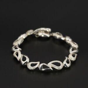 """Sterling Silver - SIGNED LT Textured Open Leaf Link 7"""" Toggle Bracelet - 17.5g"""