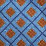 ERMENEGILDO ZEGNA Mens Blue Navy Orange GEOMETRIC Silk Tie Made in Italy EUC