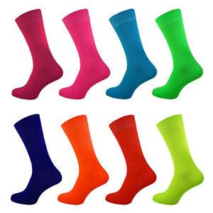 Mens Womens Bright Teddy Boy Fancy Dress Fun 50s 60s 70s 80s Neon Socks 4-8 6-11