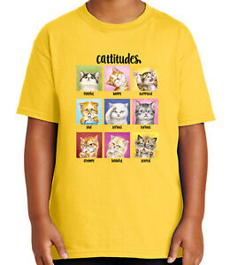 Cattitudes Kid's T-shirt Happy surprised sad curious Cat Tee for Youth - 2100C