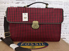 FOSSIL MBG9183 Carry Case Estate Sac bandoulière rouge Docu Mallette BNWT RRP £ 169