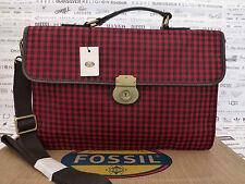 FOSSIL MBG9183 Carry Case ESTATE Shoulder Bag Red Docu Briefcase BNWT RRP£169