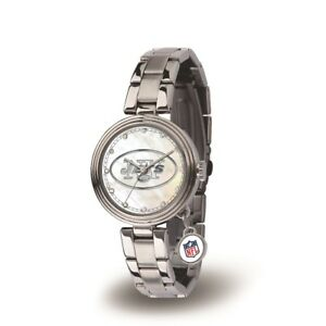 New York NY Jets Charm Watch with Stainless Steel Band