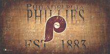 "Philadelphia Phillies Throwback Retro Heritage Est 1883 Wood Sign 12"" x 6"" Decor"