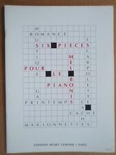 """PARTITION """" SIX PIECES POUR LE PIANO """" MEL BONIS. EDITION HENRY LEMOINE"""