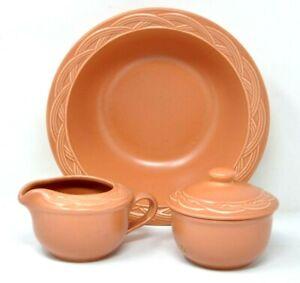 Pfaltzgraff Acadia Sienna Terracotta Color Lot Sugar Creamer Vegetable Bowl