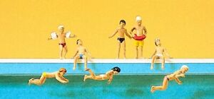 Preiser HO Scale Model Figure/People Set - Children At The Pool Swimming 6Pk