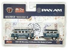 M2 Machines 1:64 1958 VW Microbus 15 Window USA Model & Trailer PAN AM 38100-M4