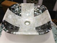 18 Inches Mother of Pearl Wash Basin Sink Hand Crafted Powdered Room Vessel