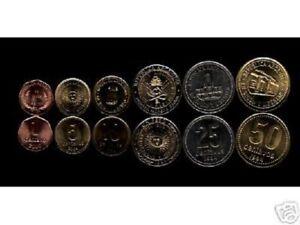 ARGENTINA 1 5 10 25 50 1 PESO 1994-2004 BI METAL UNC x 6 PCS COMPLETE COIN SET