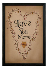 Love You More Stitchery Framed Wall Art decor NEW 36924