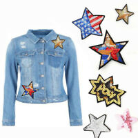 5/6/10pcs/Pack Applique Iron-On Patch Badge Stickers Stars Sequins Patches