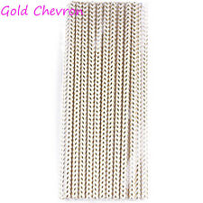 25PCS Gold Drinking Paper Straws Birthday Party Supplies Christmas Favors New