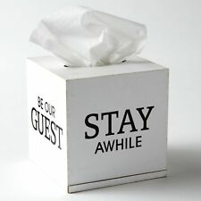 Be Our Guest Decorative Tissue Box Cover - Decorative Guest Room Accent