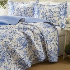 Laura Ashley 3pc Blue Reversible Quilt Set Full Queen Cotton Floral Bed Pattern