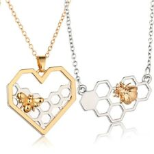 Modeschmuck Halskette für Frauen Mädchen Herz Wabe Biene Imker Anhänger Imkerin