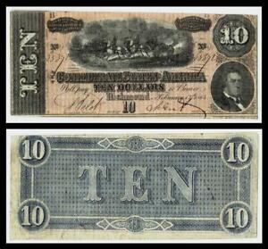 1864 $10 CONFEDERATE  CURRENCY ~RICHMOND
