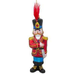 Nutcracker with Fur Hat Glass Christmas Ornament