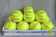 Dozen New-In-Wrapper Worth 12 inch Official League Softballs ~ Hi-Vis Yellow