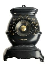 VTG Cooper BLACK POT BELLY STOVE WALL  THERMOMETER Made In USA Tin