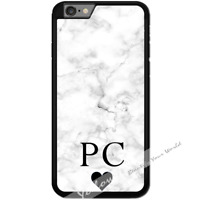 For iPhone 7 Case Cover PERSONALISED Initial White Marble Y01502