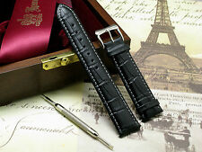 18mm Black/White Leather Watch Band + Spring Bar Remover Tool Fit Any Watch 18mm