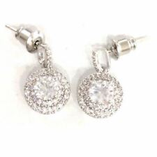 Round Lab Diamond Double Halo Stud Earrings Women Jewelry White Gold Plated