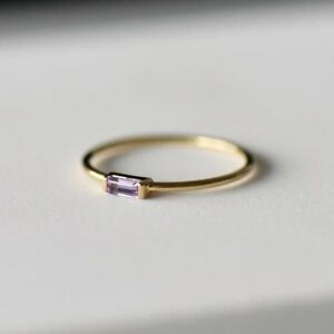 0.29Ct Baguette Amethyst Solitaire Dainty Minimalist Ring Yellow Gold Fns Silver