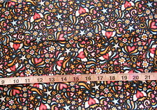 "100% Cotton Fabric ""Healing Hearts"" by RJR Fabrics, Black w/Pink Hearts/Stars"