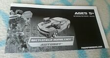 Transformers ROTF BATTLEFIELD BUMBLEBEE INSTRUCTION BOOKLET ONLY