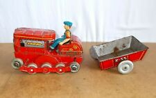 Vintage tin toy - MT MODERN TOYS japan - K 55 BULLDOZER TRACTOR & trailer - 60s