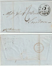 US to UK NEW YORK 5c Stampless HIBERNIA Named Ship 1850