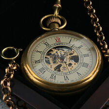 Brass Gold Vintage Chain Hand-winding Mens Pocket Watch Mechanical White Face