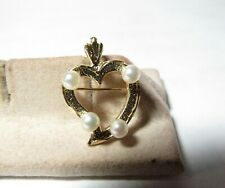 14K SOLID YELLOW GOLD HEART PENDANT AND PIN WITH PEARLS