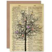 Birthday Upcycle Dictionay Birds Tree Blank Greeting Card With Envelope