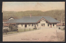 Windsor-Vermont-Railroad-Train Station-Hand Colored-Antique Postcard
